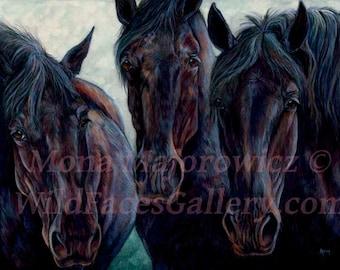 Draft Horse Art, Percheron Draft Horse Print, horse painting, horse print, horse decor, western art, western decor, black horse art