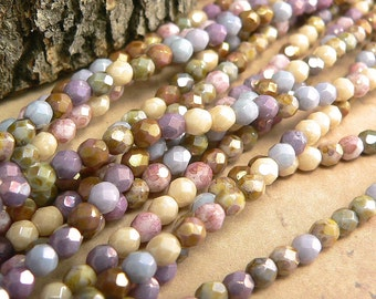 Opaque Luster Mix Czech Glass Fire Polished Round Beads Picasso 4mm (50)