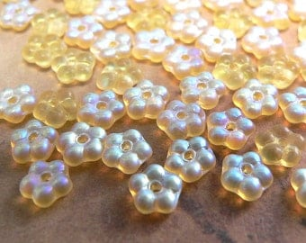 Yellow AB Czech Glass Bead Flower Spacer Frosted Matte Amber 5mm (50)