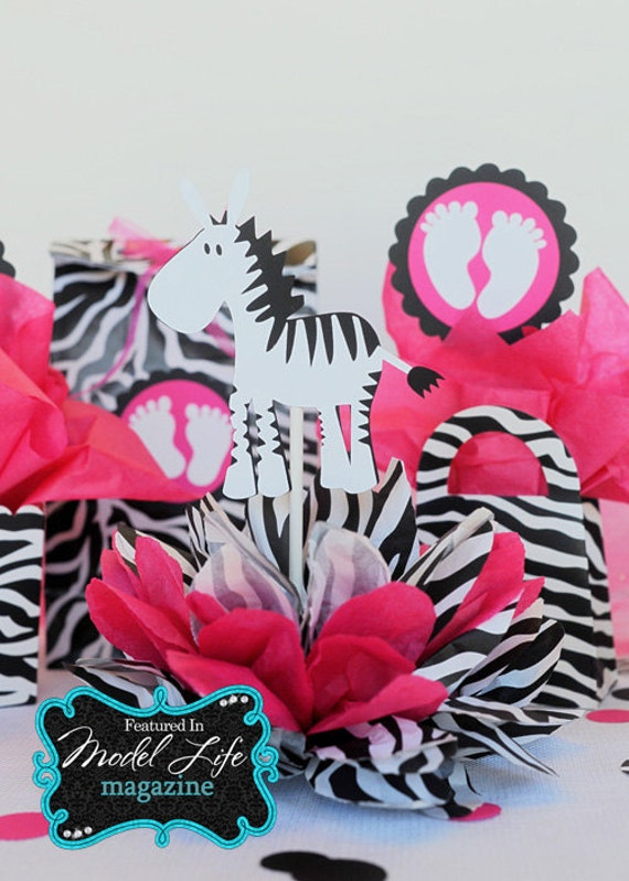 ZEBRA baby shower table decoration centerpiece by Creative