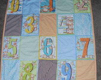 Monkey Numbers Minky Baby Quilt