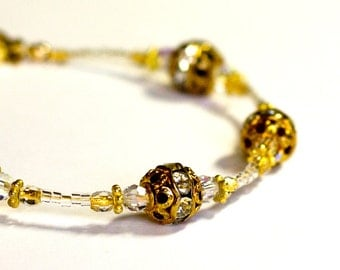 Gold Sparkle Bracelet Vintage Swarovski Handmade Bridal Delicate Clear Formal Genuine Gold and Vermeil