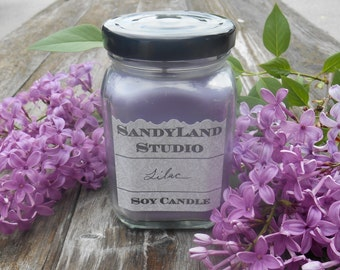 Lilac Soy Candle 6 Ounce Square Victorian Jar 100% Soy Rustic
