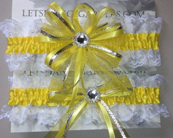 Yellow Bridal Wedding Garter Set  a Keepsake n Toss Garters