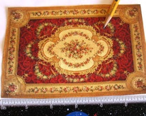 Dollhouse Miniature Aubusson Sueded RUG CARPET Victorian Red Gold Floral