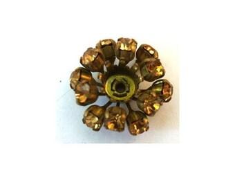 SWAROVSKI BEADS antique vintage  metal flower with dark yellow shade crystals- RARE