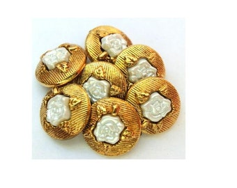 10 Vintage plastic buttons gold color with pearlized white rose flower 15mm