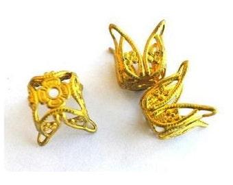 6 Vintage flower shape metal cap beads findings 13mm height