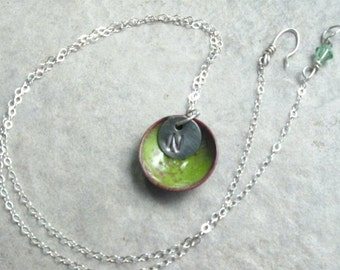 Tree Froggy enameled copper disc necklace