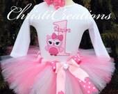 Baby Girl 1st Birthday Tutu Outfit - Owl Tutu Set - Cake Smash Photo Prop