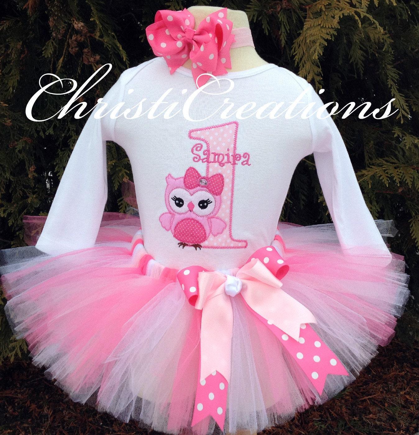 Baby Girl 1st Birthday Tutu Outfit Owl Tutu Set Cake Smash