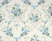 1940s Vintage Wallpaper by the Yard - Floral Wallpaper with Beautiful Blue Roses on White