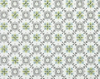 1940's Vintage Wallpaper - Geometric Green and Gray Design
