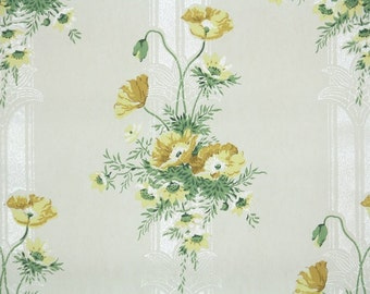 1920s Vintage Wallpaper by the Yard - Antique Floral Pretty Yellow Poppy Bouquets