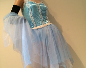 Vintage Dance Tutu Crinoline and Art Stone Leotard with Sequins and Lace Ballerina Majorette Pale Sky Blue