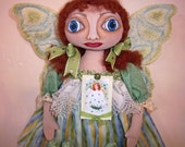 Primitive Folk Art Irish St Patricks Angel Doll with Shamrocks  HAFAIR OOAK