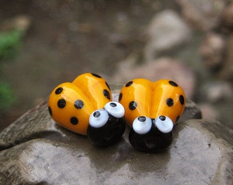 2 Glass Ladybug Beads, Lampwork Ladybug Beads, 16mm Beads, Yellow Ladybug, Yellow Ladybird, SRA Handmade Lampwork, DIY Jewelry - E