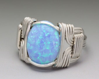 Light Blue Fire Man-Made Opal Sterling Silver Wire Wrapped Ring - Made to  Order and Ships Fast!