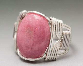Rhodonite Cabochon Sterling Silver Wire Wrapped Ring ANY size