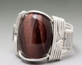 Red Tiger's Eye Cabochon Sterling Silver Wire Wrapped Ring - Made to Order and Ships Fast!