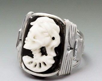 Carved Bone Lady Skull Cameo Sterling Silver Wire Wrapped Ring ANY size