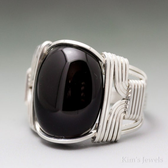 Black Onyx Cabochon Sterling Silver Wire Wrapped Ring ANY size