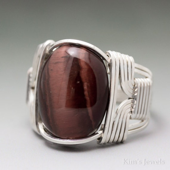 Red Tigers Eye Cabochon Sterling Silver Wire Wrapped Ring ANY size