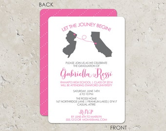 Let the Journey Begin pink graduation invitation