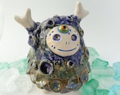 Ceramic Creature Sculpture, Blue, Green and White Clay Monster