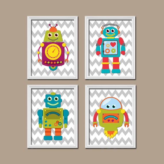 Robots wall art boy bedroom pictures canvas or prints robot for Robot baby room decor