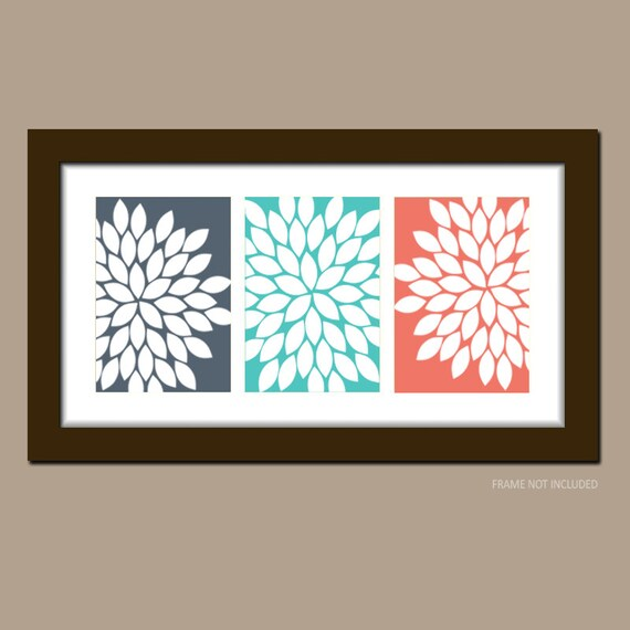 Items Similar To Navy Coral Turquoise Wall Art Bathroom