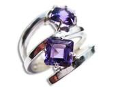 Dark Purple Ring 14k White Gold Rings with Amethyst Gemstones