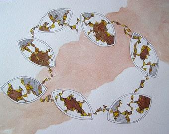 Original Watercolor Painting - Flat Bottom Boats V, Sharing DNA - Watercolor and Ink