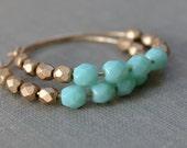 Aqua and Gold Hoop Earrings, Beach Earrings, Bohemian, 14k Gold Fill Hoops, Aqua Gold Glass, Bridal Jewelry