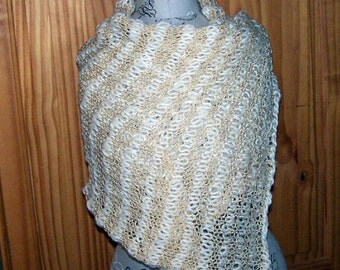 Elegant knit white and gold wedding shawl