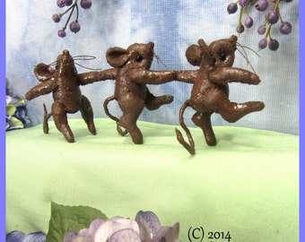 Primitive, Soft Sculpture Mice,Dancing Mice, chocolate Mice  NBOFG