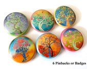 """Leaves Trees Flowers 1"""" PINBACKS PINS BADGES retro nature mod flower fall autumn pinback buttons party favors stocking stuffers shower gifts"""