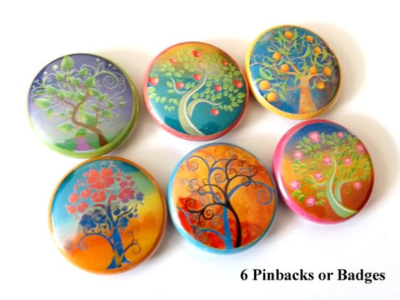 "Leaves Trees Flowers 1"" PINBACKS PINS BADGES retro nature mod flower fall autumn pinback buttons party favors stocking stuffers shower gifts"
