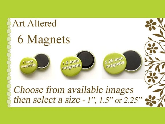"Your Choice 6 MAGNETS choose from available images in 1"", 1.5"" or 2.25"" size party favors stocking stuffers shower office gifts flair fridge"