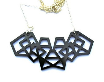 Black Geometric Necklace Laser Cut Acrylic Perspex on Sterling Silver Chain