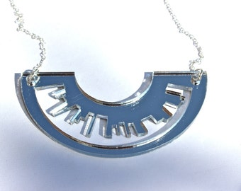 Silver Necklace Skyline Laser Cut Mirror Acrylic Perspex on Sterling Silver Chain London New York Inspiredererr