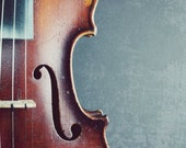 Still life violin photography, fiddle, gray brown wood, country, f hole, music room art, musical instrument  'Perfect Fifths'