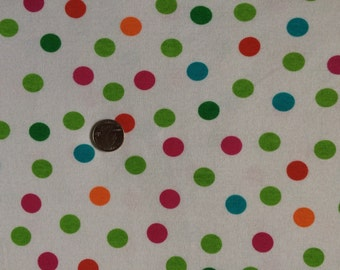 New colorful bright polka dots on baby cotton rib knit fabric 1 yd
