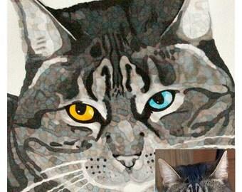 Custom Cat Portrait, Cat Memorial Art, Pet Home Decor, Cat Lover Gift, Digital Download, DIY Printing