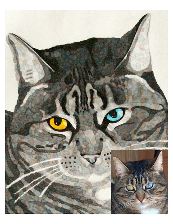 Custom Cat Portrait, Cat Memorial Art, Pet Home Decor, Cat Lover Gift, Digital Download, DIY Printing