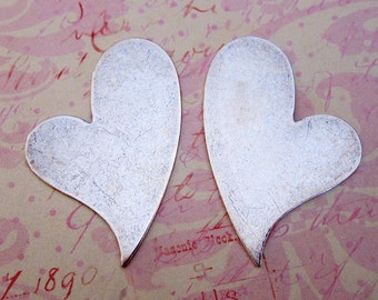 SALE 2 Large Silver Heart Findings 3401