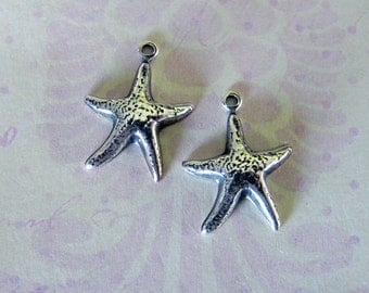 2 Silver Starfish Charms 3506