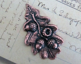 NEW Antique Copper Oak Leaf and Acorn Finding 3542C