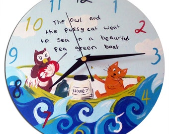 The Owl and the Pussy Cat Clock / Children's Wall Clock / Nursery Decor / Nursery Rhyme - Hand-painted
