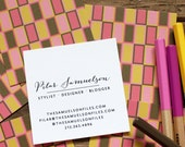 calling cards / business cards / mom cards mod rectangles pinks / bronze - set (50)
